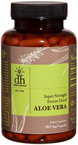 Desert Harvest Super-Strength 100 Organic Aloe Vera Supplement 180 Capsules , 600 milligrams containing 200 milligrams Active Ingredients Each. Interstitial Cystitis Painful Bladder Relief
