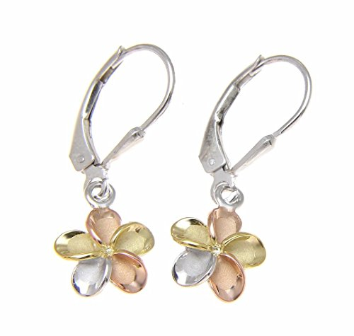 - 925 sterling silver yellow rose gold rhodium plated tricolor Hawaiian plumeria flower leverback earrings no stone 10mm