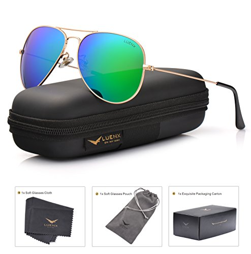 LUENX Aviator Sunglasses for Men Women Polarized Green Mirrored Lens Metal Frame UV 400 Protection with Case Classic - Aviator Sunglasses Men's