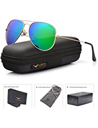 Aviator Sunglasses for Men Women Polarized Green Mirrored Lens Metal Frame UV 400 Protection with Case Classic style