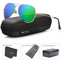 LUENX gafas de sol estilo aviador polarizadas con estuche para gafas para mujer y para hombre - UV 400
