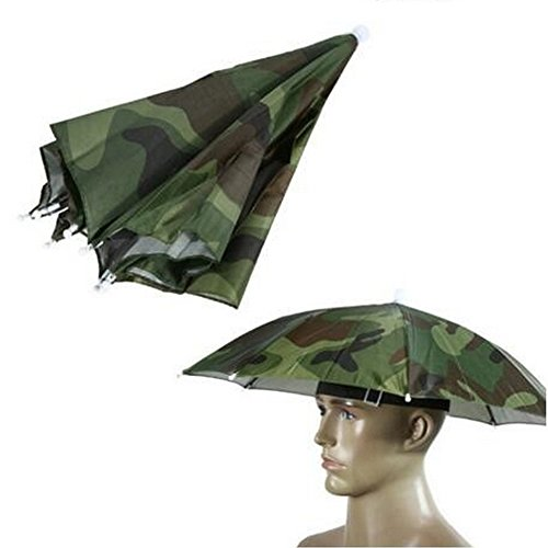 "Umbrella Hat, Colorful Folding Headwear 26"", Elastic Headband Sun Rain Umbrella Hat Cap for Party, Fishing and Gardening, Prefect for Kids (Camouflage) ()"
