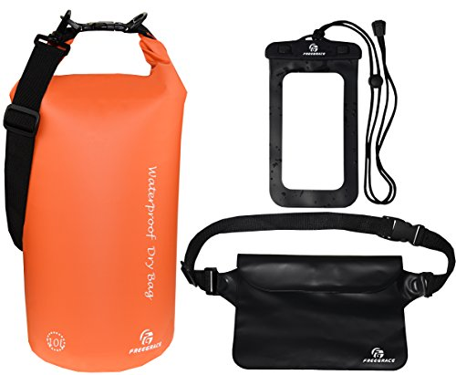 Waterproof Dry Bags Set Of 3 By Freegrace - Dry Bag With 2 Zip Lock Seals & Detachable Shoulder Strap, Waist Pouch & Phone Case - Can Be Submerged Into Water - For Swimming (Orange, 10L)