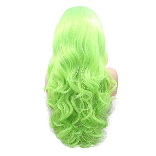 (Natrual Hairline Side Part Hairstyle Bright Yellow Green Long Wavy Wig For Drag Queen Women's Makeup Fluorescent Color Synthetic Lace Front Wigs For Halloween Party High Temperature Fiber)