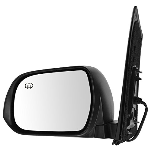 Mirror Power Heated Smooth Black LH Left Driver Side for 13-17 Toyota Sienna
