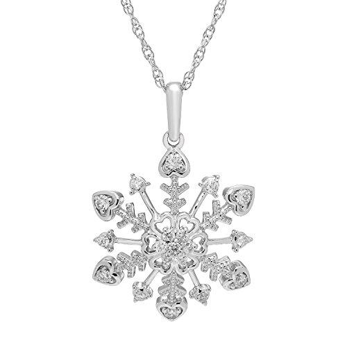 Boston Bay Diamonds 925 Sterling Silver 1/4 Cttw. Diamond Snowflake Pendant Necklace with 18