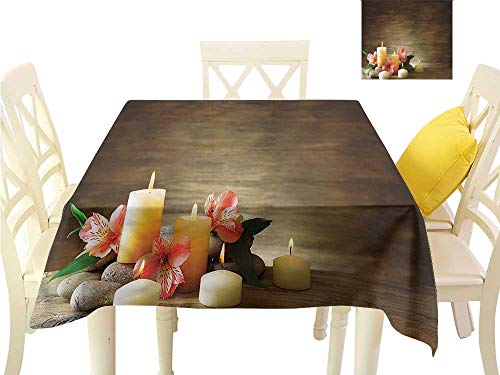 Davishouse Elegant Waterproof Spillproof Polyester Fabric Table Cover Candles Wellbeing Unity Waterproof/Oil-Proof/Spill-Proof Tabletop Protector W60 x L60