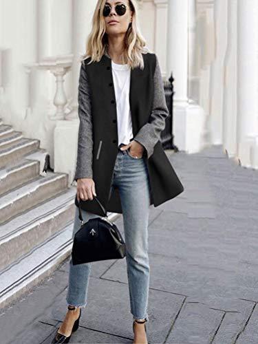 Noir Femmes Boutons Longue Chic lgant Cardigan Blouson de Longues Automne Minetom Bloc Veste Mode Manches Tops Couleur Outwear Hiver Manteau HZZBw0qd