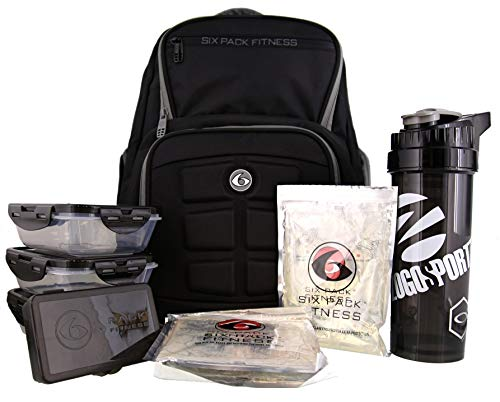 6 Pack Fitness Expedition Backpack W/Removable Meal Management System 300 Black/Grey