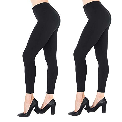 NUUR 2-Pack Mid-Waist Leggings, Ultra Soft Yoga Workout Tights Women Girls, All Match Style in Ankle Length