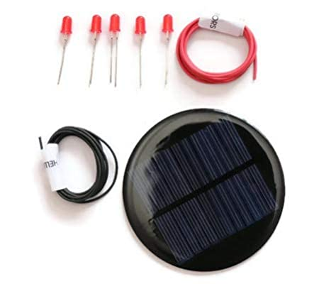 Electronicspices DIY 6v-80 mAh Mini Solar Panel Kit with 5 Red LEDs and 2 m Common Wires (Multicolour, 80 Diameter)