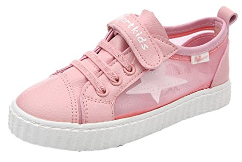 iDuoDuo Girls Contrast Color Dress Flat Sneakers Elastic Strap School Shoes Pink 9.5 M US Toddler