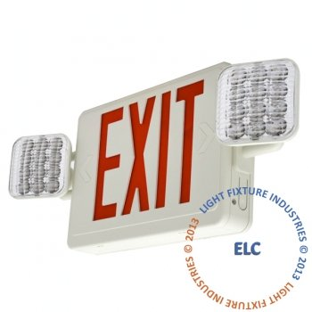 LFI Lights - Red LED Combo Exit/Emergency Light - Self Testing - COMBORST2