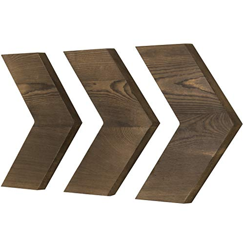MyGift Set of 3 Decorative Wall-Mounted Rustic Brown Wood Chevrons ()
