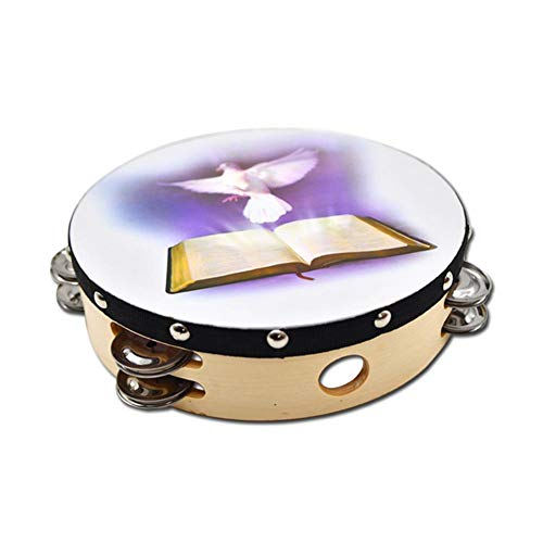 Per Tambourine Dove Bible Double Row Jingle Percussion Instrument for Church Hand Percussion 10in / 8in