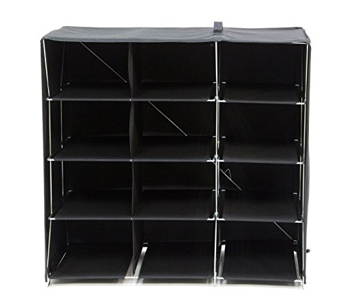Origami R-FSR-12-B 12-Shelf Foldable Shoe Rack, Fabric Ba...