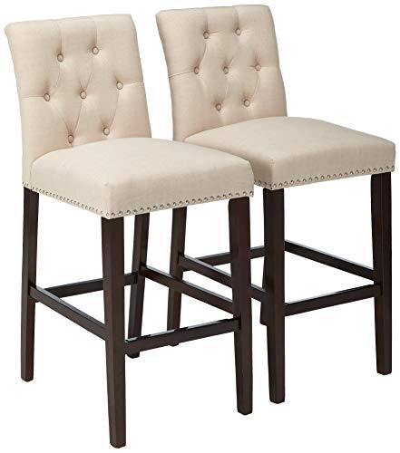 tion Norah Beige and Espresso Barstool (Set of 2) ()