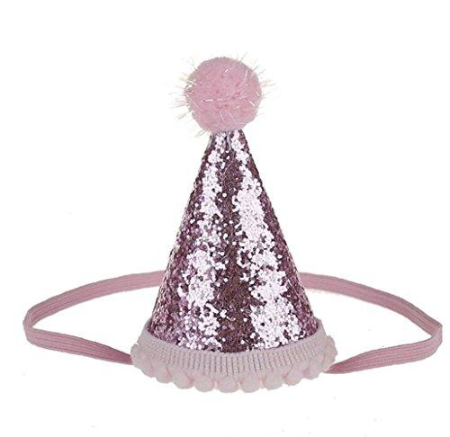 Goodscene Kids Hair Decoration Accessories Tapered Hat Head Decorations Baby Hair Decorations for Birthday (Pink) ()