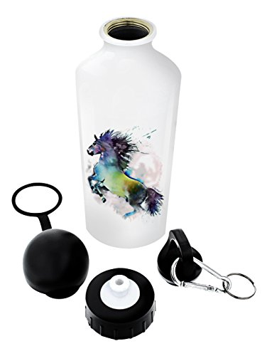 Horse Lovers Gifts Watercolor Horse Lover Gifts Equestrian Gifts Horse Water Bottle Horse Accessories Gift Aluminum Water Bottle with Cap & Sport Top White