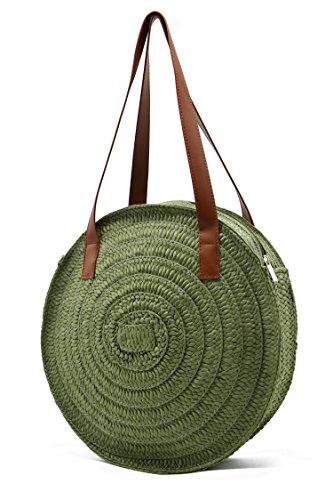 Women Beach Tote Bag Handmade Straw Sandyproof Travel Tote Shoulder Hand Bag Swimming Bag for Women (Dark ()