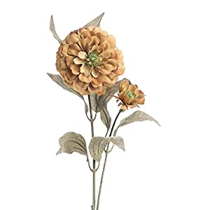 Factory Direct Craft Group of 10 Artificial Autumn Toffee Zinnia Floral Sprays for Crafting, Creating and Embellishing 115