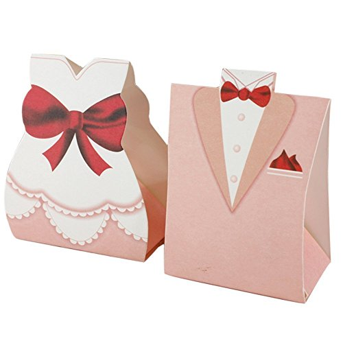 Krismile New 50Pcs Pink Bride Groom Tuxedo Dress Gown Wedding Favor Candy Box Gift