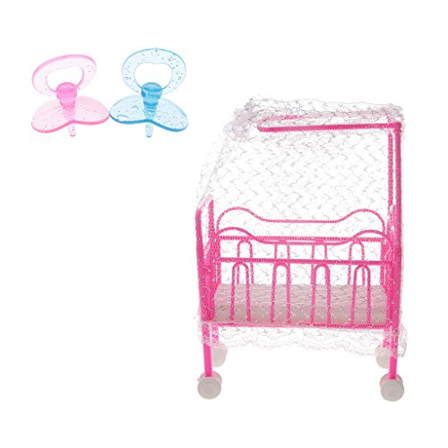 Baoblaze 1/6 Scale Miniature Cot Bed Pacifier Set Bedroom Furniture for Barbie Dolls House Action Figures Accessory