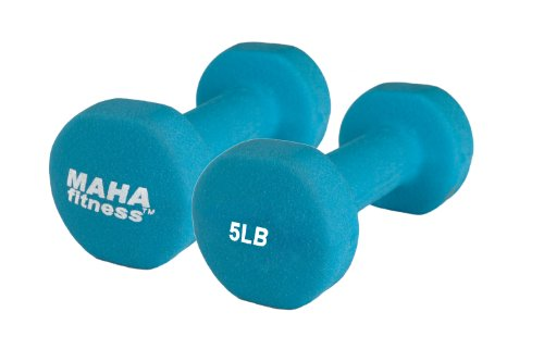 Maha Fitness Neoprene Coated Dumbbells 2 Pack (5 LB)