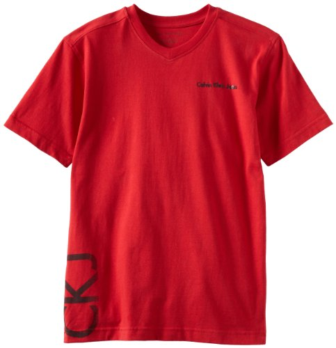 Calvin Klein Big Boys' Signature V-Neck Tee