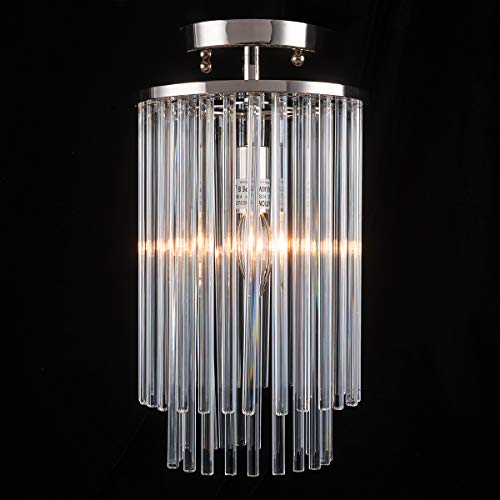 Ceiling Light Fixture Flush Mount with Clear Glass Rods Lampshade Small Ceiling Lighting for Living Room, Light Fixtures Ceiling for Hotel, Dining Room, Hallway Light Fixtures Ceiling Nickel Finished