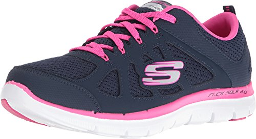 Skechers Sport Women's Flex Appeal 2.0 Simplistic Fashion Sneaker, Navy/Hot Pink, 8.5 W US