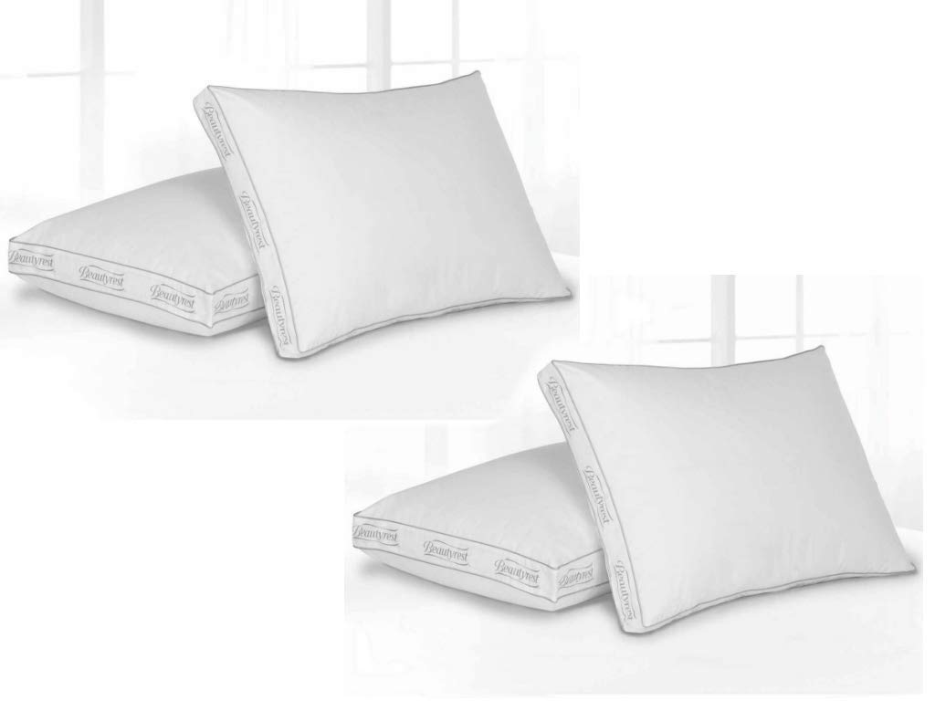 Beautyrest Premium 100% Cotton Extra Firm Pillow in Standard (Pack of 4) + Include Free Laundry Mesh Bag