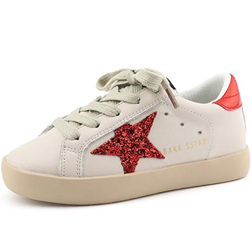 Bakkotie Toddler Baby Boys Girls Fashion White Sparkly Glitter Leather Retro Star Sneakers Shoes(FS2239-Red/BAKK-32)