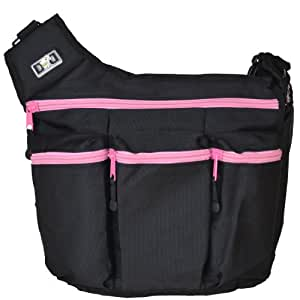 Diaper Dude's Diva Bag for Hip Moms, Black with Pink Zippers