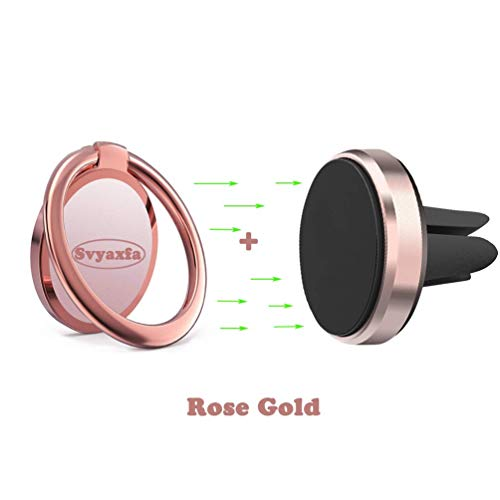 ll Phone Holder Universal Finger Ring Stand with Magnetic Car Mount Phone Holder for Car Air Vent Magnetic Mount car Phone Holder 2in1 Set(Rose Gold) ()