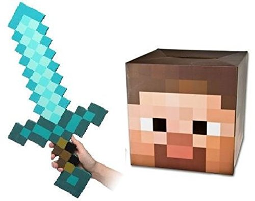 Steve Head Costume (Steve Cardboard Head and Diamond Sword Costume Combo)