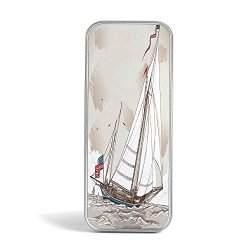 Tin Pencil Box,Vintage,Special Gifts for Children/Kids,Illustration of a Retro View of Antique American Yacht with Flags Ocean (Antique Yacht)