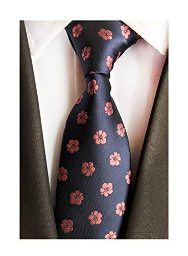 Men Navy Blue Pink Lucky Clover Tie Patterned Elegant Wedding Necktie for Grooms