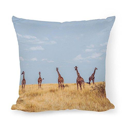Mesllings 18X18 Giraffe Sky Desert Print Cotton Decorative Throw Pillow Case Cushion Desert Sky Cotton Print