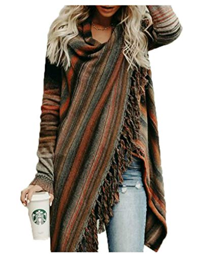 Womens Long Sleeve Cardigans Wrap Single Button Tassel Asymmetrical Hem Shawl Coat Brown