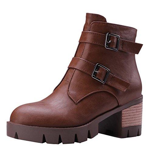 Kurzschaft Reißverschluss Damen Braun Shoes Stiefel Blockabsatz Mee wIpzB