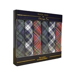 6 Pack Mens Boxed 100% Cotton Tartan Handkerchiefs, 40 x 40cm approx, Blue Green Red White