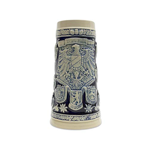 Beer Stein Engraved Germany Coats of Arms Cobalt Blue Beer Mug by E.H.G. | 1.1 ()