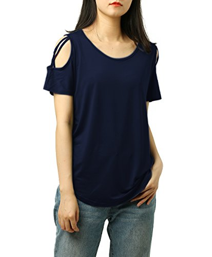 PAAZA Womens Criss Cross Casual Loose Cold Shoulder Tops and Blouses Basic T Shirts (Navy, M)