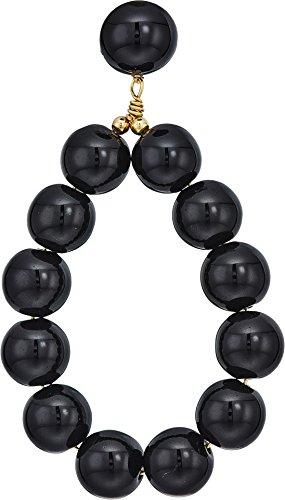 Kenneth Jay Lane Black Ring - Kenneth Jay Lane Women's Ball Hoop Earrings, Black, One Size