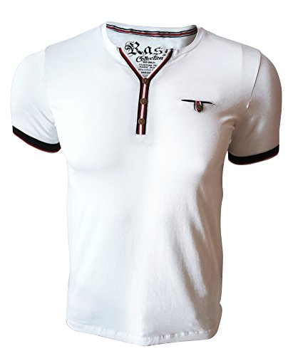 Price comparison product image Rass Collection MFL-2508 Henley T-shirt – Men's Tee Shirts White