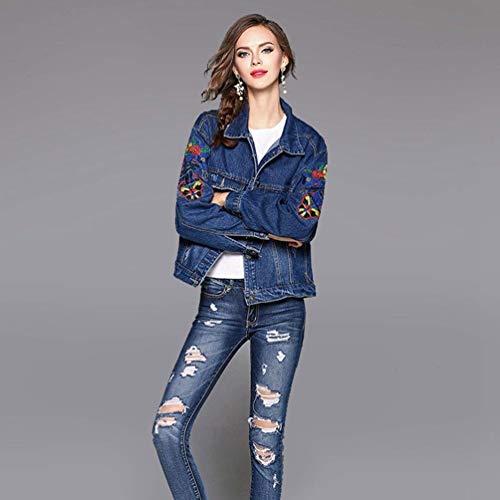 Marca Jeans Streetwear Blau Jacket Giacca Relaxed Mode Di Maniche Elegante Bavero Stile Donna Ricamate Autunno Giacche Bolawoo Tempo Giubotto Vintage Primaverile Libero Lunghe UP1Oc7q