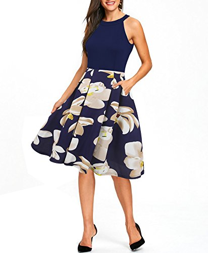 (oxiuly Women's Vintage Halter Neck Floral Patchwork Pockets Party Cocktail Casual Swing Dress OX257 (XXL, Blue White))