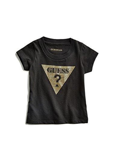 GUESS Factory Kids Girl's Beatrix Logo Tee (2-6) Black/Gold ()