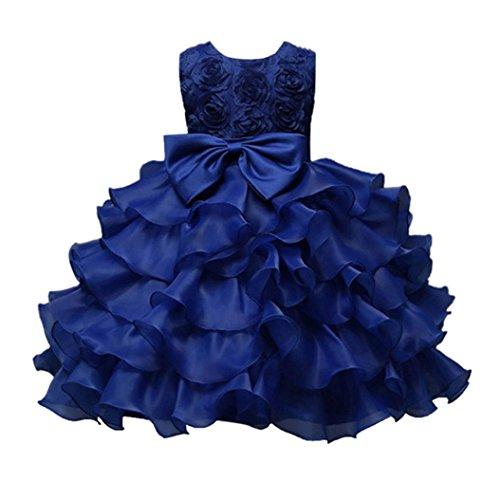 Bowknot Party Dress ,Kintaz Baby Kids Girl Sleeveless Rosette Tunic Princess Dress Ruffles Lace Wedding Dresses (Dark Blue, Size:3T) (Sleeveless Rosette)